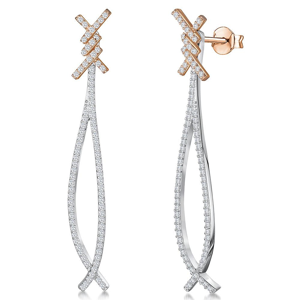 sterling-silver-and-rose-gold-long-cross-over-drop-earrings