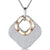 Sterling Silver Rose Gold Plated  Cubic Zirconia Open Square Pendant