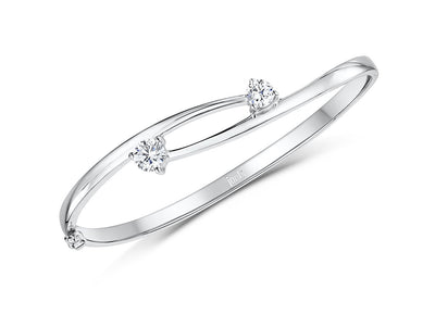 Sterling Silver Open Wishbone Bangle  With A Two Offset  Cubic Zirconia StonesBracelets - JOOLS By Jenny Brown