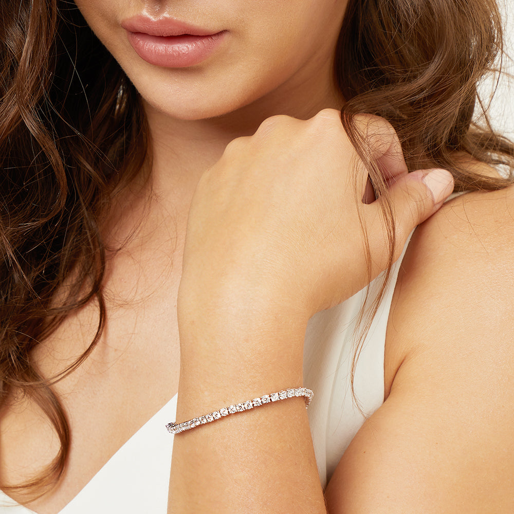 STERLING SILVER AND CUBIC ZIRCONIA 2.50 CARAT LINE BRACELET
