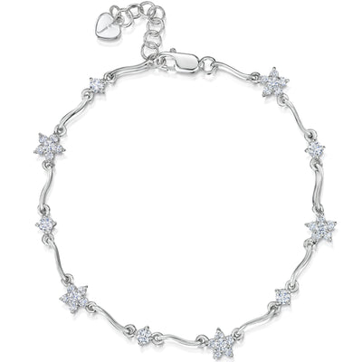 Sterling Silver Bracelet  Set With Alternating Flower and Single Stone Solitaire Cubic Zirconia StonesBracelets - JOOLS By Jenny Brown