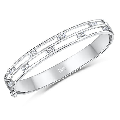 Sterling Silver Split Row Bangle Set With Pairs of Cubic Zirconia StonesBracelets - JOOLS By Jenny Brown