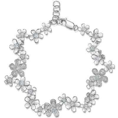 Sterling Silver Flower Bracelet Set With Polished and Cubic Zirconia Set PetalsBracelets - JOOLS By Jenny Brown