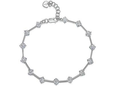 Sterling Silver Bracelet Featuring Silver Bars With 14 Brilliant Cut CZ StonesBracelets - JOOLS By Jenny Brown