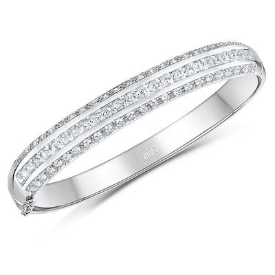 Sterling Silver Bangle With A Channel Set Centre Row Of Cubic Zirconia With Pave Set Cubic Zirconia CentreBracelets - JOOLS By Jenny Brown