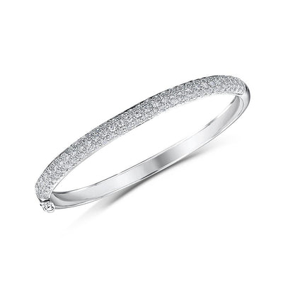 Sterling Silver Bangle Half  Pave Set Eternity Style Set With Cubic Zirconia StonesBracelets - JOOLS By Jenny Brown