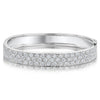 Sterling Silver Bangle Triple Row Pave Set Eternity Style Set With Cubic Zirconia StonesBracelets - JOOLS By Jenny Brown
