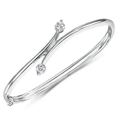 Sterling Silver Bangle Cross Over  Set With  Two Cubic Zirconia Stones EndsBracelets - JOOLS By Jenny Brown