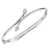 Sterling Silver Bangle Cross Over  Set With  Two Cubic Zirconia Stones Ends