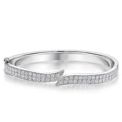 Sterling Silver Bangle Pave Set Cubic Zirconia With Overlapping StrandsBracelets - JOOLS By Jenny Brown