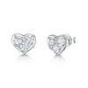 Sterling Silver Heart Stud Earrings- Featuring A Small CZ Pave Set of Flat HeartsEarrings - JOOLS By Jenny Brown