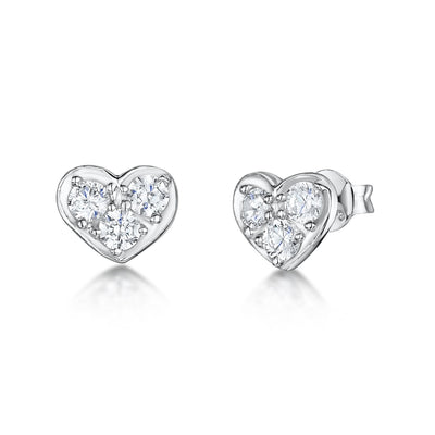 Sterling Silver Heart Stud Earrings  Featuring A Small CZ Pave Set of Flat HeartsEarrings - JOOLS By Jenny Brown