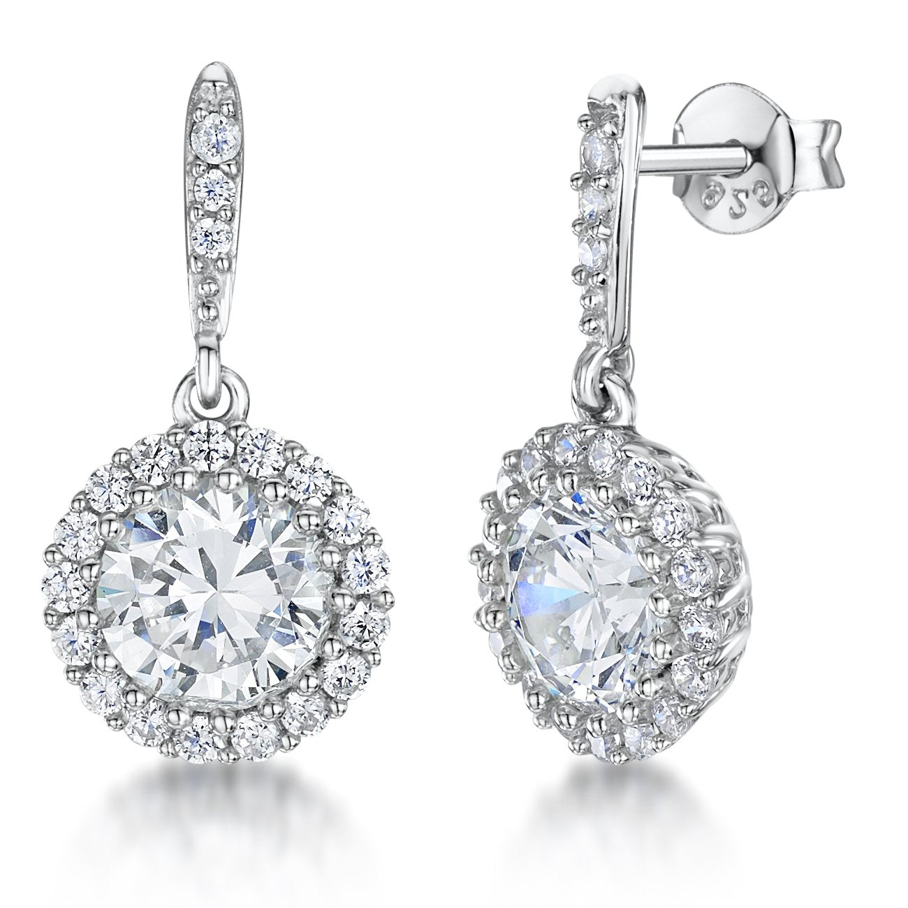 Sterling Silver Halo Drop Stud  Earrings Featuring A Brilliant Cut Round 3.87 Carat  Cubic Zirconia And Stone Surround - JOOLS By Jenny Brown