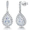 Sterling Silver Drop Earrings Featuring A Teardrop Cubic Zirconia StoneEarrings - JOOLS By Jenny Brown