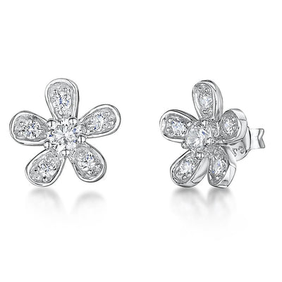 Sterling Silver Flower Stud Earring Set With Cubic Zirconia Petals and Centre StoneEarrings - JOOLS By Jenny Brown