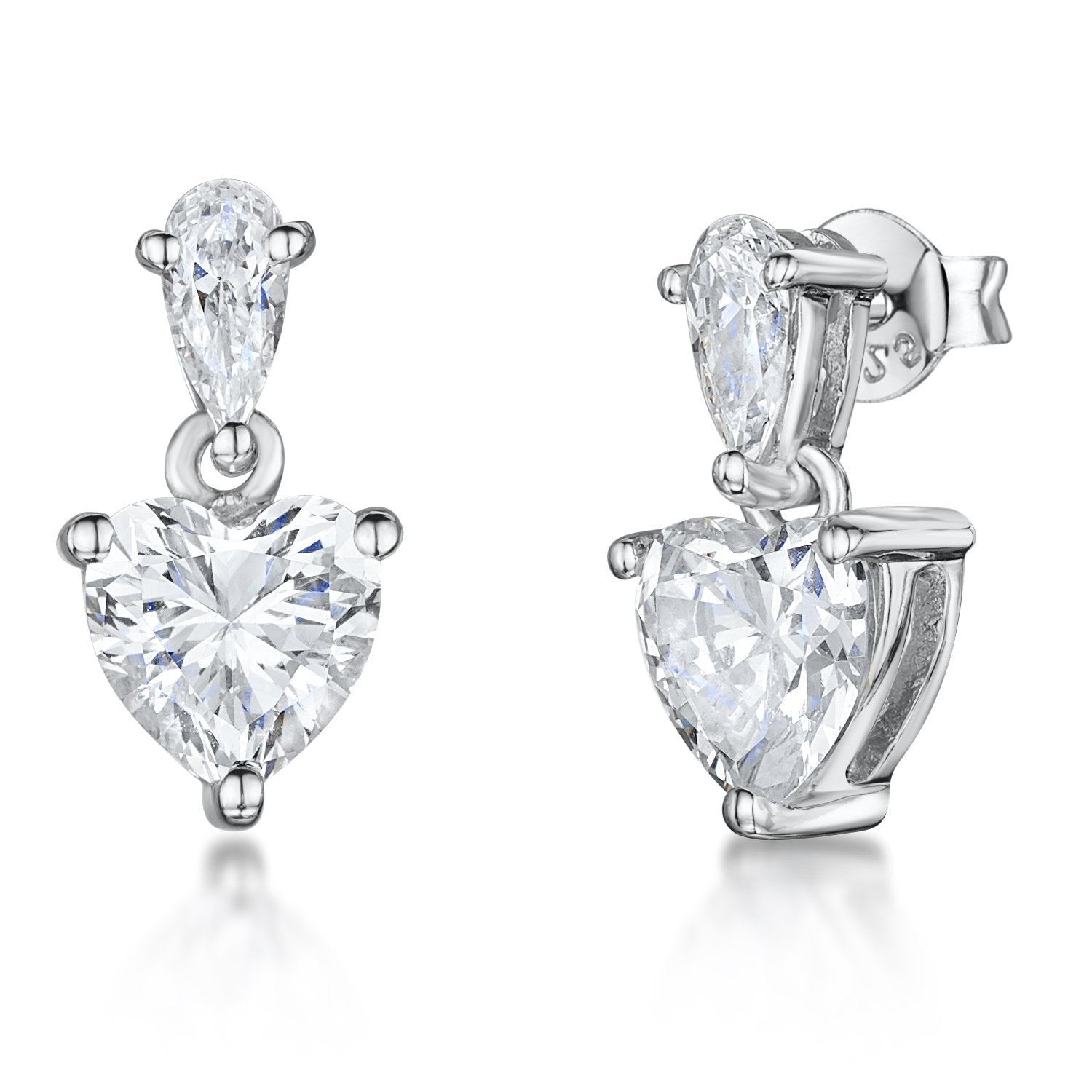 Sterling Silver Heart Drop Earrings -Set With A Central Cubic Zirconia Heart and Pear Shape Bale - JOOLS By Jenny Brown