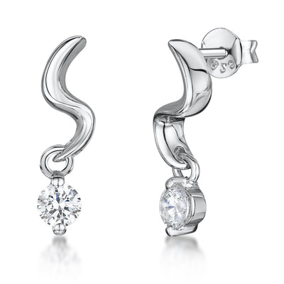 Sterling Silver Drop Earrings- With A Round CZ On 'S' Shape Silver Drop StudEarrings - JOOLS By Jenny Brown