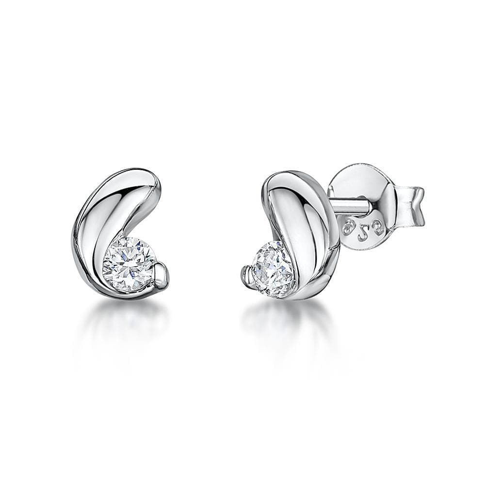 Sterling Silver Stud Earrings Coffee Bean Shape Set With A Cubic Zirconia - JOOLS By Jenny Brown