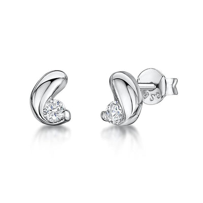 Sterling Silver Stud Earrings Coffee Bean Shape Set With A Cubic ZirconiaEarrings - JOOLS By Jenny Brown