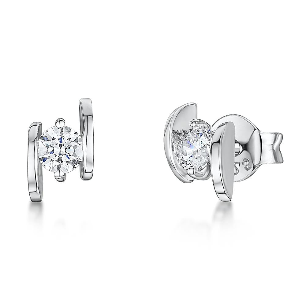 Sterling Silver Earrings With A Tension Set  Cubic Zirconia - JOOLS By Jenny Brown