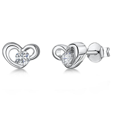 Sterling Silver Heart Stud Earring Set with A Single Round Cubic Zirconia Centre Stoneearrings - JOOLS By Jenny Brown