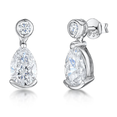 Sterling Silver Drop Earrings With a Teardrop Cubic Zirconia StoneEarrings - JOOLS By Jenny Brown