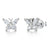 Sterling Silver Butterfly Stud  Earrings  With CZ Settings And A Silver Antennae