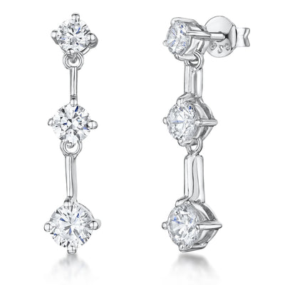 Sterling Silver Drop Earrings  Set With Three Cubic Zirconia StonesEarrings - JOOLS By Jenny Brown