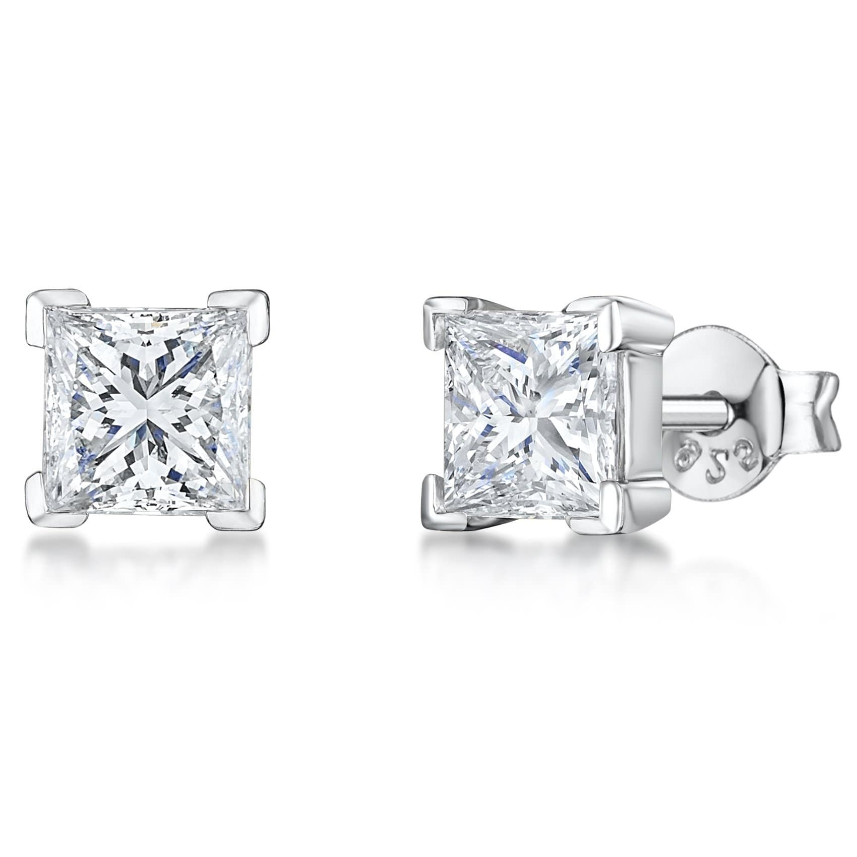 Sterling Silver Square Cubic Zirconia Solitaire Stud Earrings - JOOLS By Jenny Brown