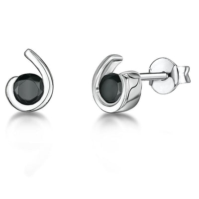 Sterling Silver Studs With A Black Zirconia CentreEarrings - JOOLS By Jenny Brown