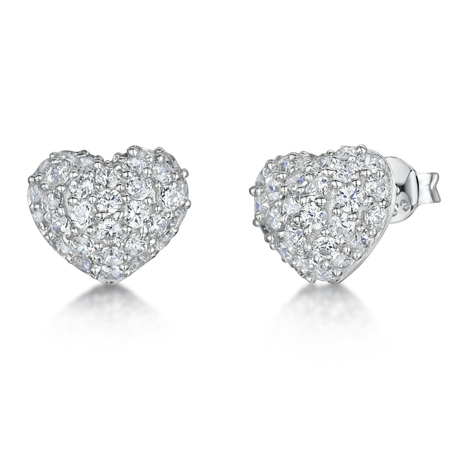 Sterling Silver Heart Stud Earrings Pave Set With Cubic Zirconia Stones - JOOLS By Jenny Brown