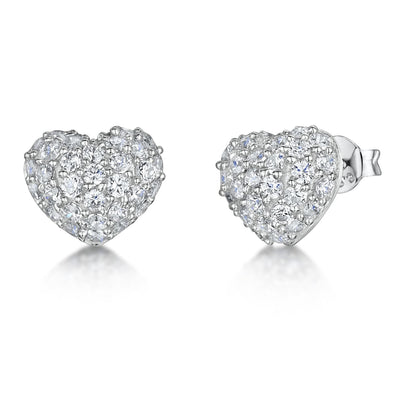 Sterling Silver Heart Stud Earrings Pave Set With Cubic Zirconia StoneEarrings - JOOLS By Jenny Brown