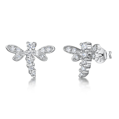 Sterling Silver Dragonfly Earrings Set With Cubic Zirconia Stonesearrings - JOOLS By Jenny Brown