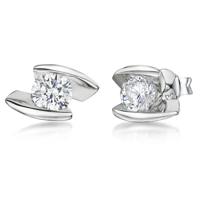 Sterling Silver Earrings Featuring CZ 's Set Between Parallel Offset Silver BarsEarrings - JOOLS By Jenny Brown