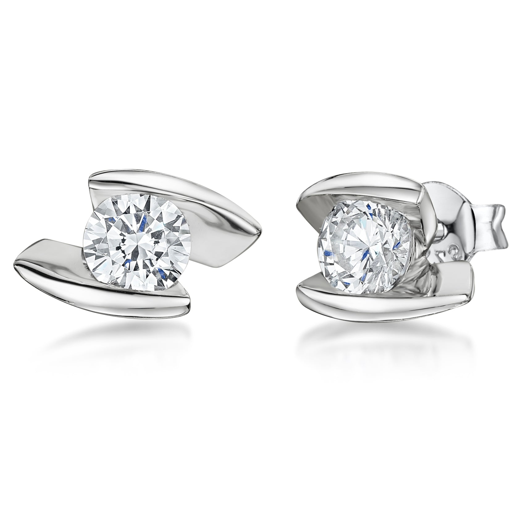 Sterling Silver Earrings With An Offset Bar and Tension Set Style Cubic Zirconia