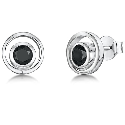 Sterling Silver Studs With A Black Cubic Zirconia CentreEarrings - JOOLS By Jenny Brown
