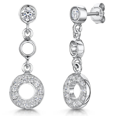 Sterling Silver Dangle Drop Earrings  With A Circle Of Cubic Zirconia StonesEarrings - JOOLS By Jenny Brown
