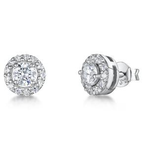 Sterling Silver Halo Stud Earrings - Set With  Cubic Zirconia and White Surrounding StonesEarrings - JOOLS By Jenny Brown