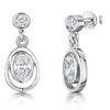 Sterling Silver Oval CZ Drop Earring With A Silver SurroundEarrings - JOOLS By Jenny Brown