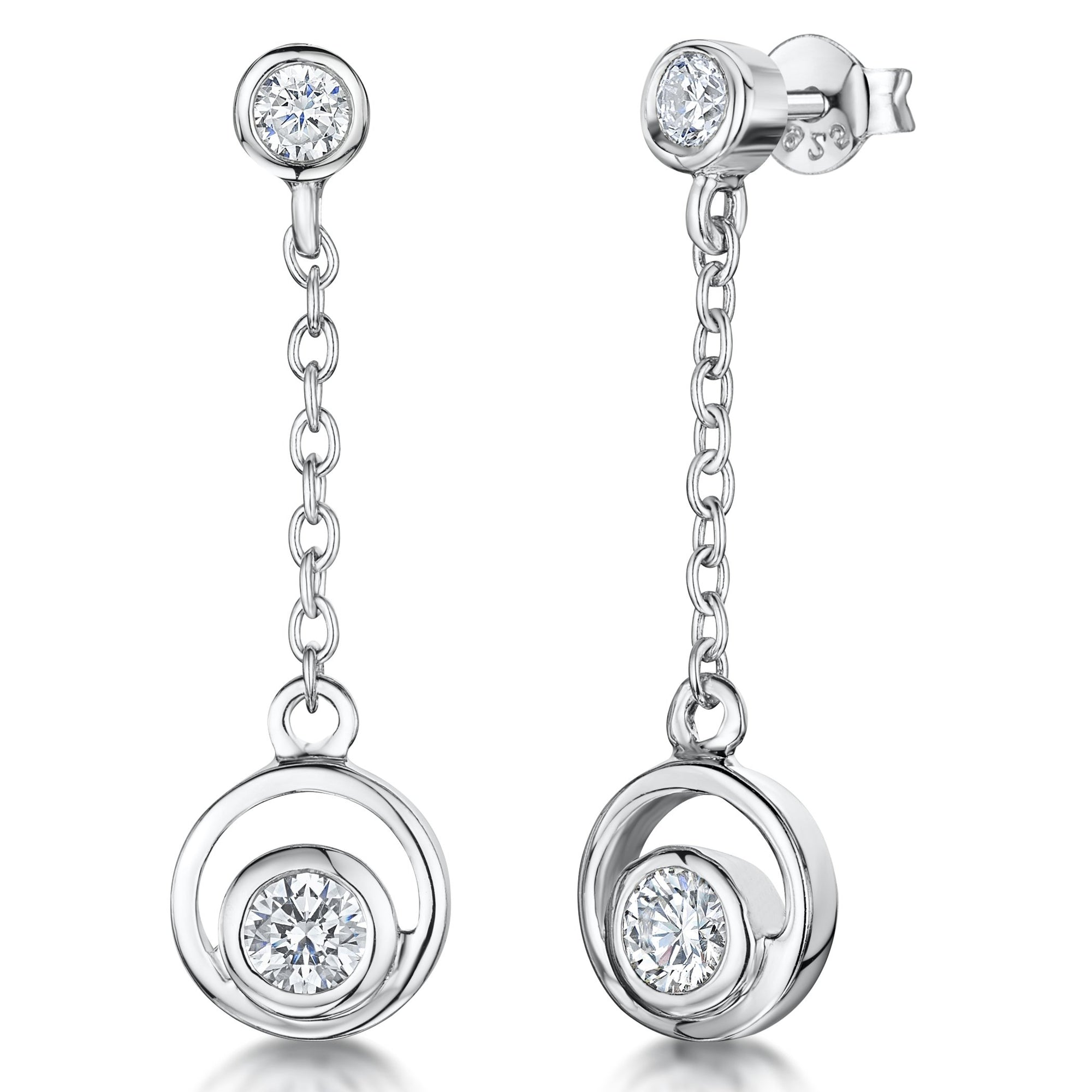 Sterling Silver and Cubic Zirconia Stones Circle  Drop EarringsEarrings - JOOLS By Jenny Brown