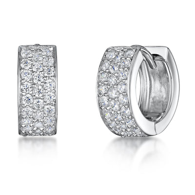Sterling Silver Earrings- 'Huggie' Style -3 Rows of Pave Set With Cubic ZirconiasEarrings - JOOLS By Jenny Brown