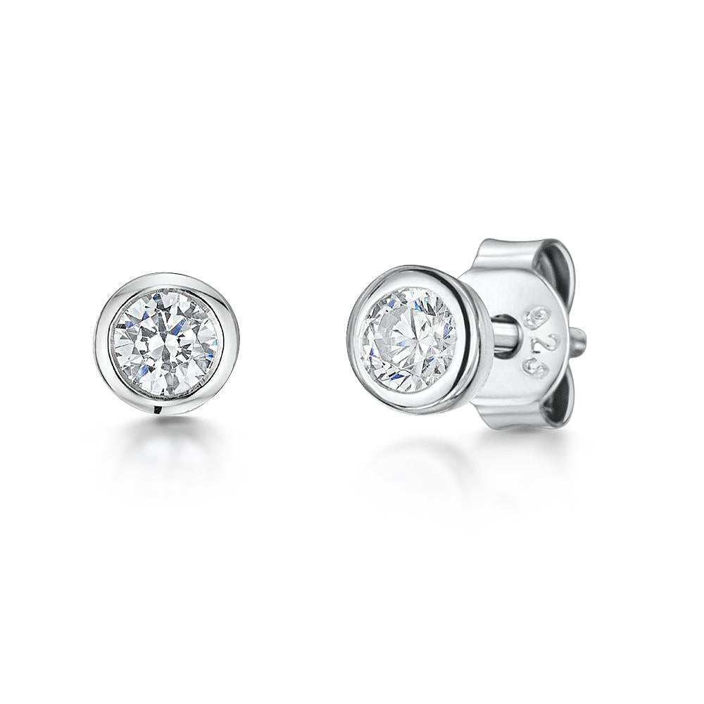 Sterling Silver Rub Over  Solitaire Stud EarringsEarrings - JOOLS By Jenny Brown