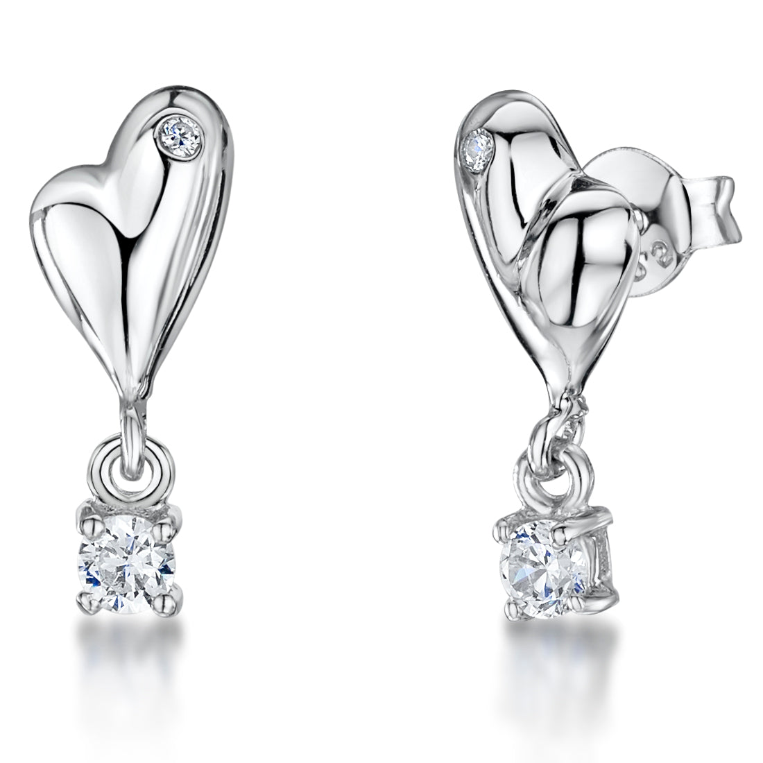 Sterling Silver Quirky Heart Stud Earrings Set With A Single Cubic Zirconia Stone