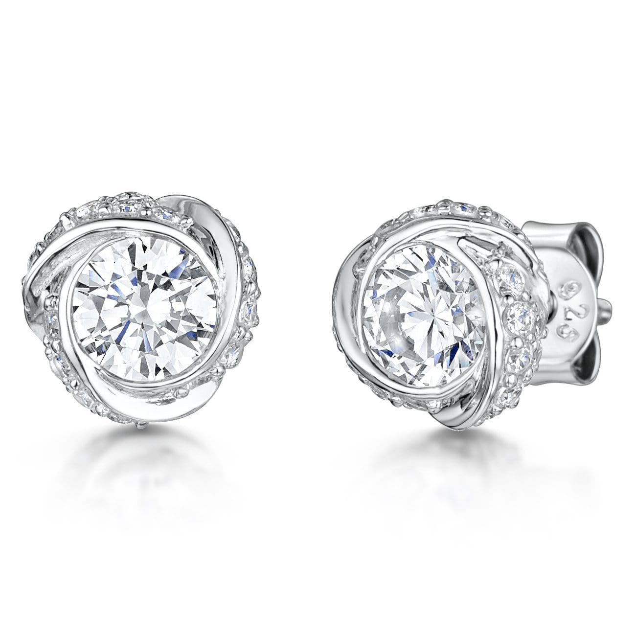 Sterling Silver Swirl  Solitaire Stud Earrings Set With A Cubic Zirconia Stone - JOOLS By Jenny Brown