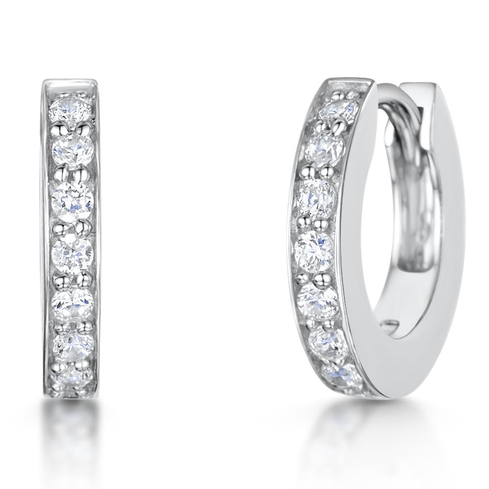 Sterling Silver Small Huggie Earrings Set With Cubic Zirconia Stones - JOOLS By Jenny Brown