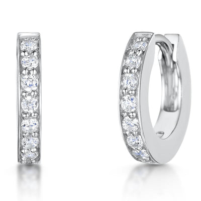 Sterling Silver Huggie Earrings Set With Cubic Zirconia StonesEarrings - JOOLS By Jenny Brown