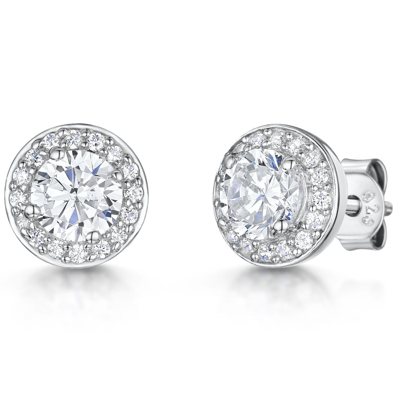 Sterling Silver Stud Earrings- Halo Style With A Central Cubic Zirconia Stone And Stone Surround - JOOLS By Jenny Brown