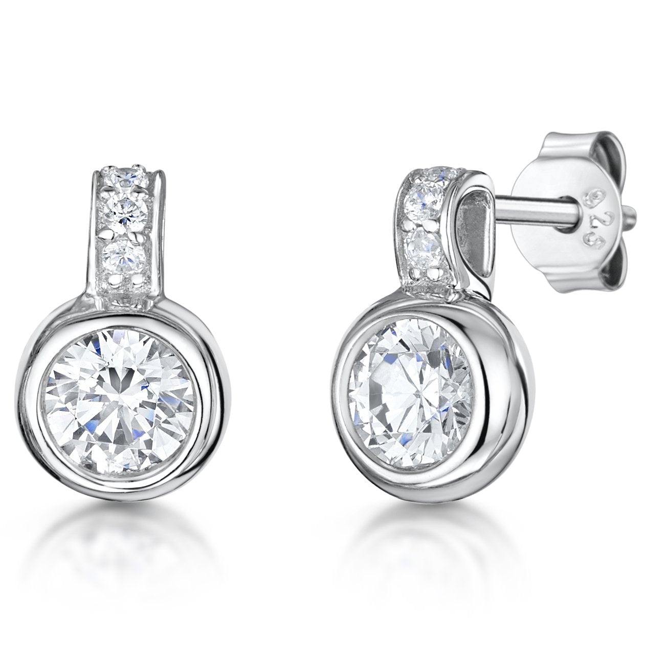 Sterling Silver Earrings Set With A Cubic Zirconia Rub Over Stones - JOOLS By Jenny Brown