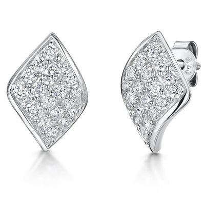 Sterling  Silver Earrings Diamond Shaped With Pave Set Cubic ZirconiaEarrings - JOOLS By Jenny Brown