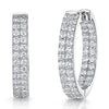 Sterling Silver Hoop Earrings With  A Double Row of Cubic Zirconia StonesEarrings - JOOLS By Jenny Brown